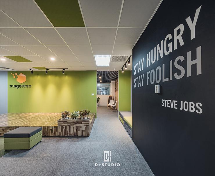 màu sắc hình khối của văn phòng xanh