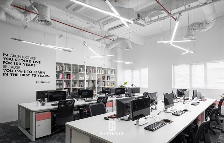 mẫu văn phòng mở đẹp hiện đại d+ studio