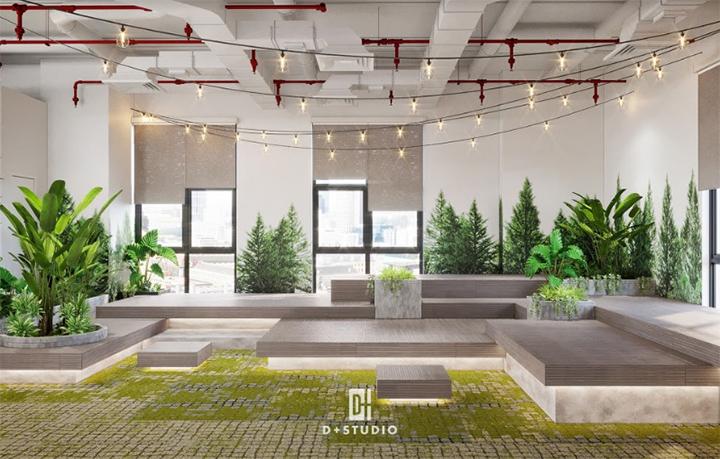 thiết kế văn phòng hiện đại kết hợp không gian thiên nhiên