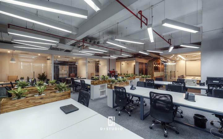thiết kế văn phòng hiện đại kết hợp không gian mở
