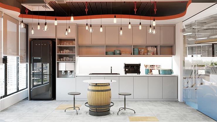 pantry văn phòng thể hiện sự quan tâm của công ty tới nhân viên