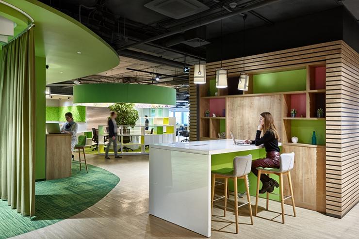 không gian tổng thể của văn phòng xanh