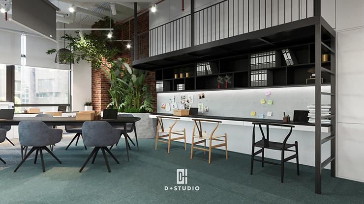 thiết kế văn phòng xanh với gam màu xanh chủ đạo