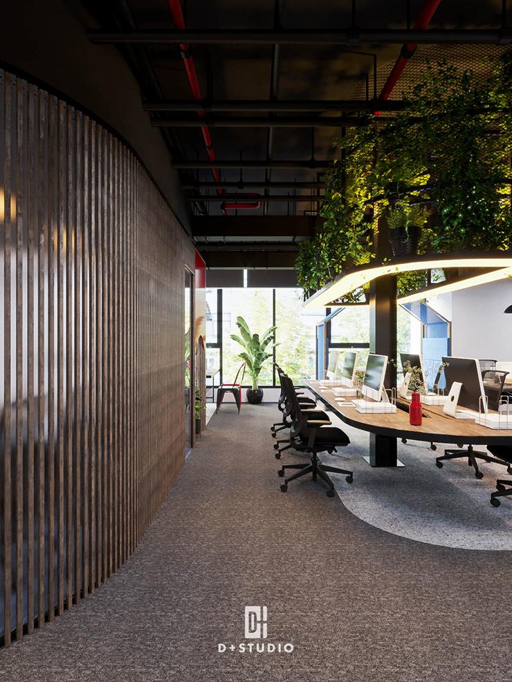 thiết kế văn phòng với các giá treo cây xanh