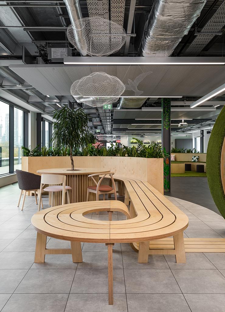 thiết kế văn phòng xanh với hình khối độc đáo sáng tạo