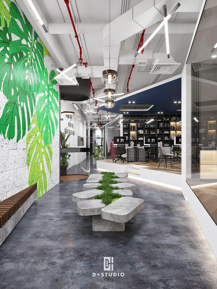 thiết kế văn phòng xanh theo không gian mở