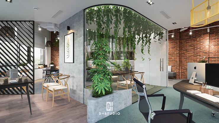 thiết kế vách tường xanh trong văn phòng