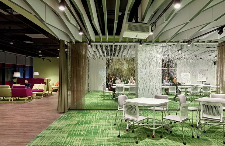 thiết kế văn phòng xanh với màu sắc thân thiện