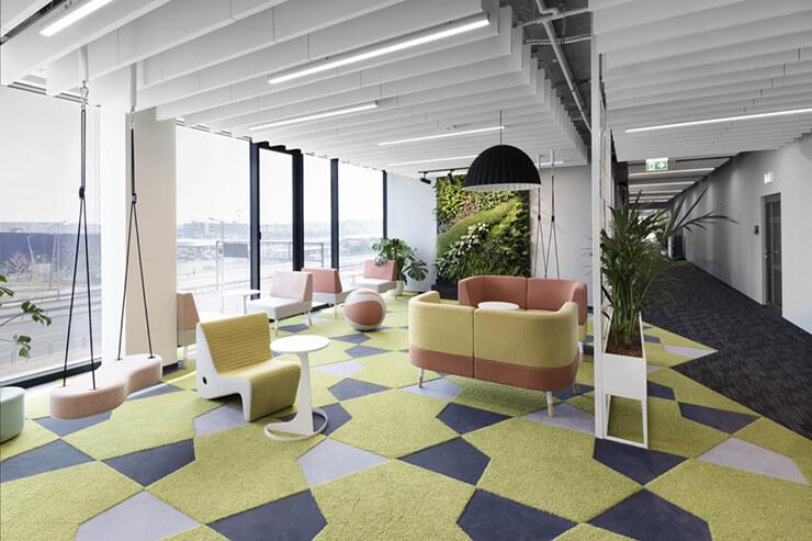 ý tưởng gam màu xanh trong văn phòng