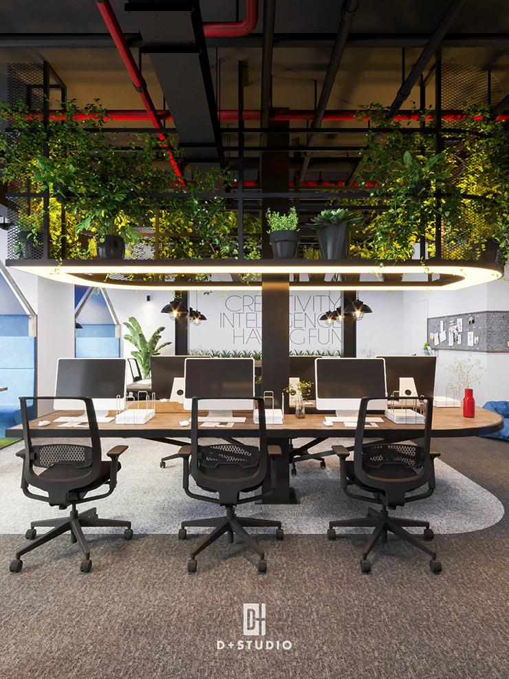 thiết kế văn phòng làm việc xanh bci