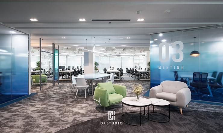 mẫu thiết kế văn phòng mở công ty công nghệ
