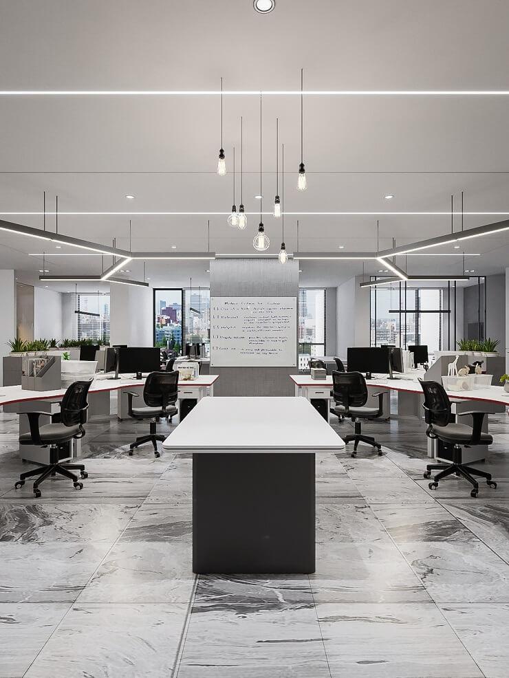 mẫu thiết kế văn phòng mở đẹp txd