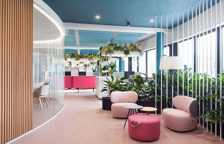 thiết kế không gian xanh trong văn phòng