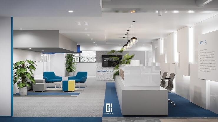 thiết kế màu sắc sảnh văn phòng