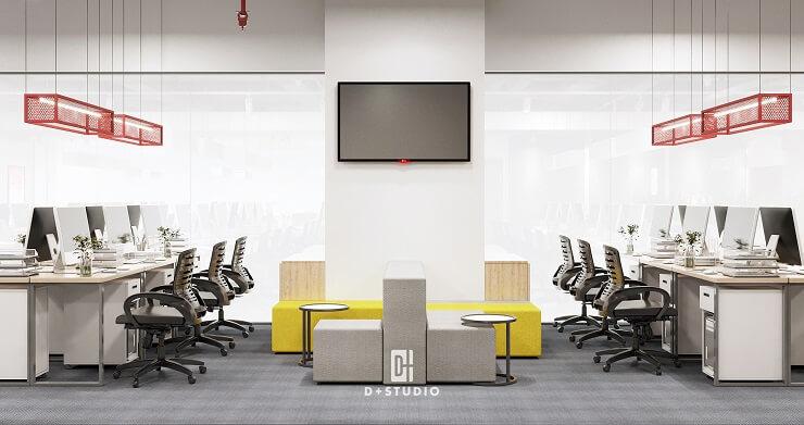 thiết kế phòng làm việc hiện đại công ty canifa