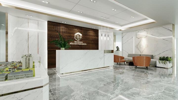 thiết kế sảnh văn phòng sang trọng
