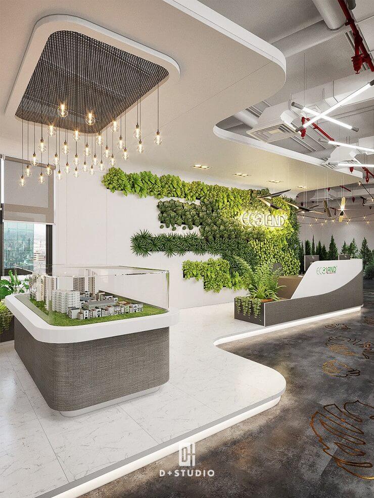 mẫu thiết kế sảnh văn phòng xanh đẹp mắt