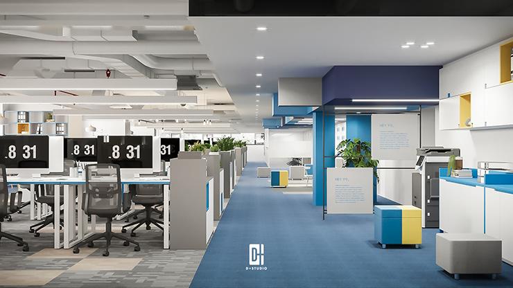 thiết kế văn phòng làm việc mở trong công ty công nghệ