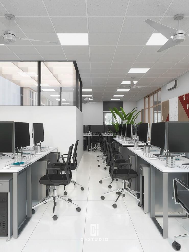 bố trí văn phòng phong cách tối giản