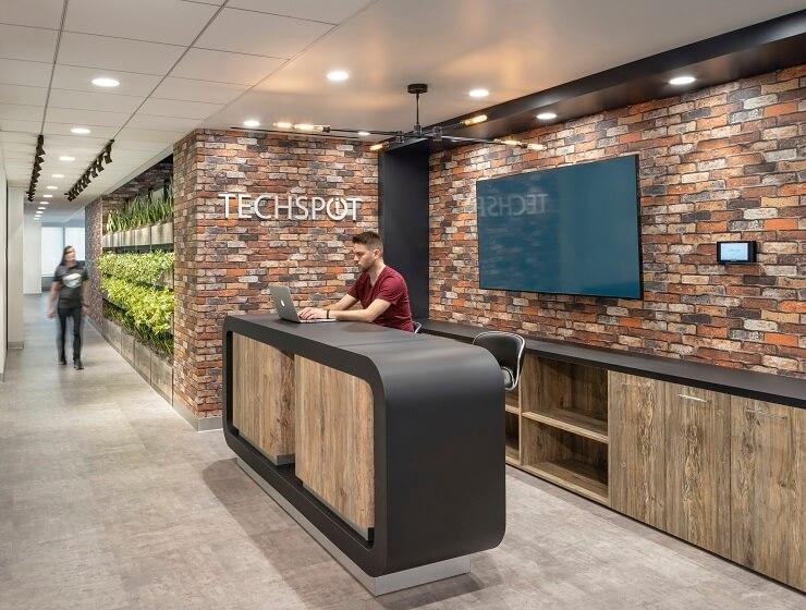 mẫu bố trí lễ tân văn phòng hiện đại