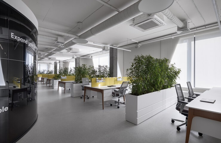 bố trí nội thất văn phòng làm việc xanh
