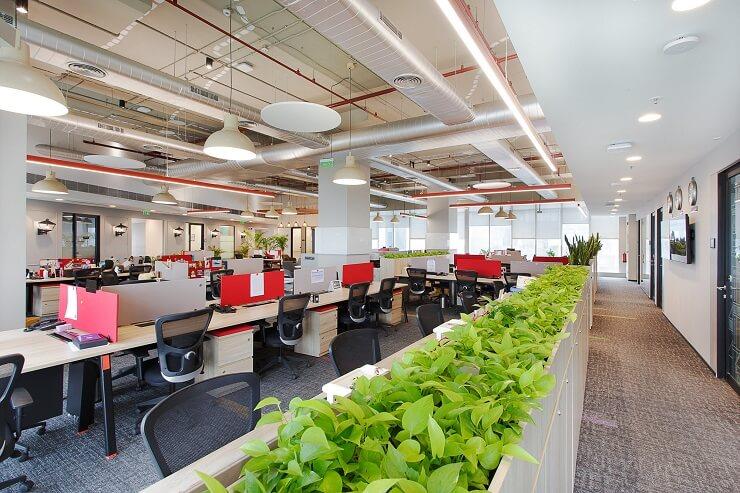 mẫu bố trí nội thất văn phòng phong cách mở