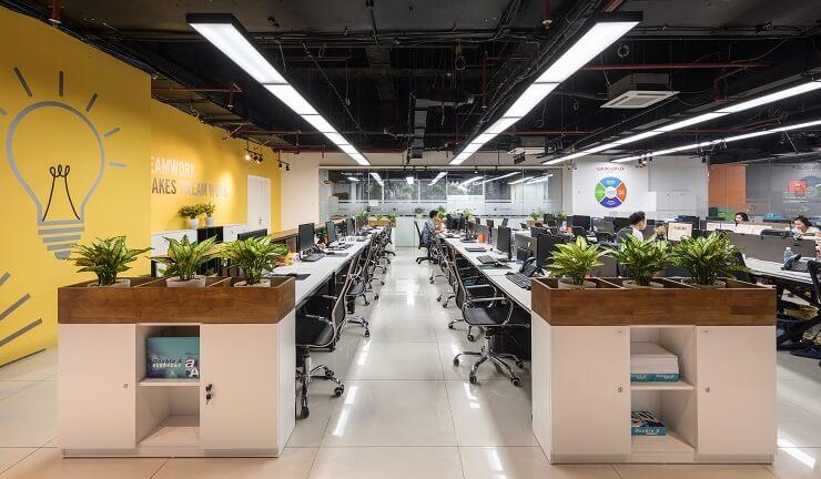 mẫu thiết kế văn phòng làm việc mở