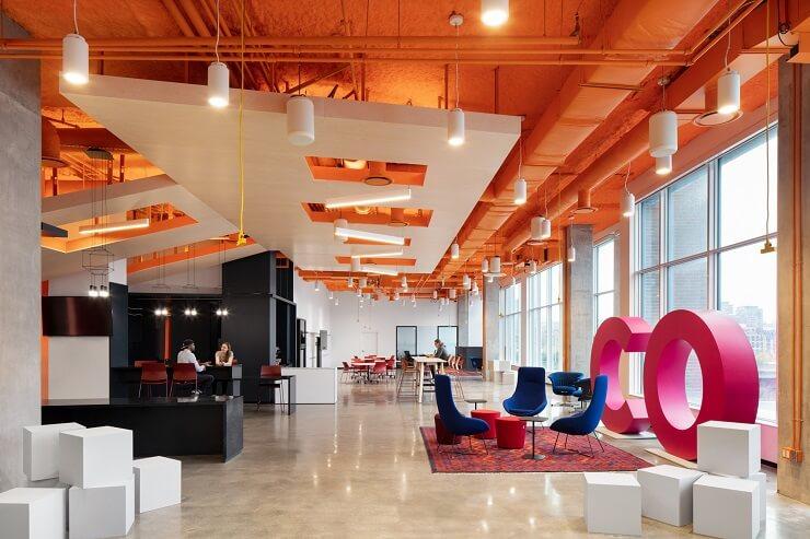 thiết kế trần văn phòng sáng tạo