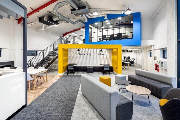 thiết kế văn phòng với hình khối sáng tạo