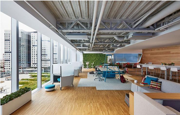 Không gian trong và ngoài như hòa làm một. Những mảng xanh của thiên nhiên không chỉ làm dịu mát văn phòng mà còn tạo điểm nhấn hút mắt.