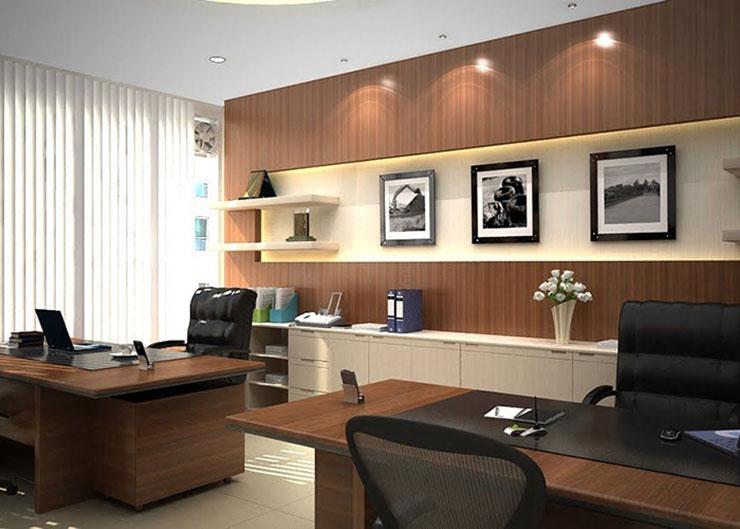 Thiết kế phòng Giám Đốc và Phó Giám Đốc cùng một không gian giúp giải quyết được vấn đề diện tích, đồng thời giúp các vị lãnh đạo dễ dàng bàn bạc, trao đổi công việc.