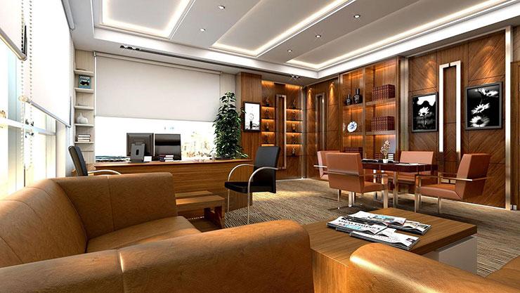 Mô hình phòng giám đốc tích hợp phòng họp và phòng tiếp khách tạo nên sự chuyên nghiệp, gây ấn tượng với khách hàng khi lần đầu đến công ty.