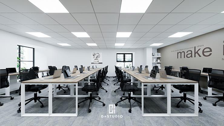 Dáng bàn module dài giúp tối ưu chỗ ngồi cho nhân viên, thích hợp với công ty đông nhân sự