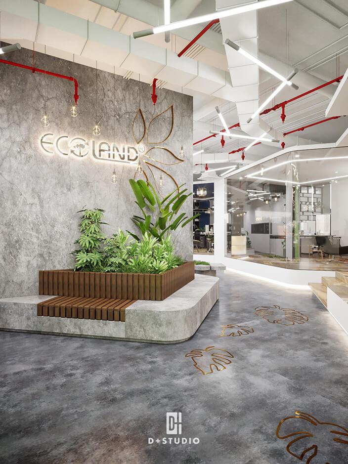 Hành lang rộng rãi với thương hiệu ECOLAND được làm nổi bật và ấn tượng