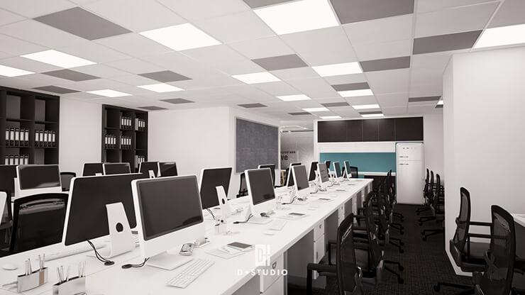 Không gian làm việc chung tiếp tục sử dụng hai màu sắc tương phản trắng - đen gây ấn tượng thị giác mạnh mẽ.