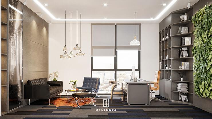 Khu vực bàn làm việc trong văn phòng giám đốc của ECOLAND