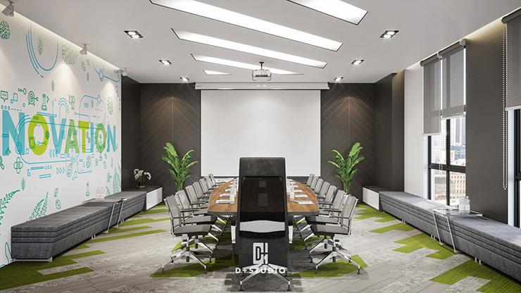 Phòng họp được thiết kế vô cùng chuyên nghiệp tại văn phòng của Ecoland