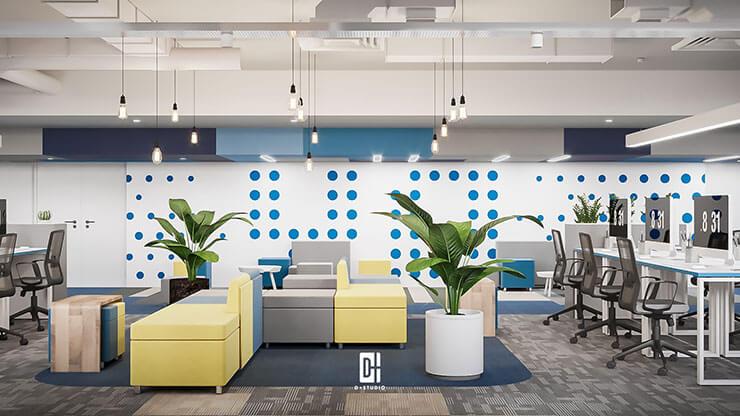 Bạn cũng có thể đặt ghế sofa tại vị trí chính giữa nhằm kết nối 2 không gian làm việc chung