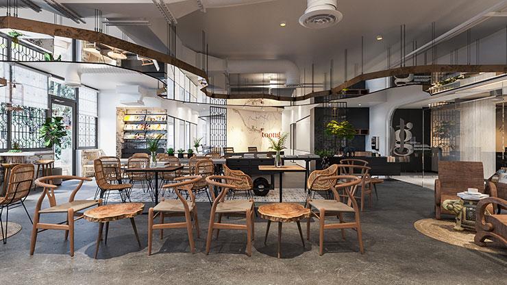 Gỗ công nghiệp được sử dụng nhiều trong nội thất, đặc biệt là bàn, ghế tạo cảm giác mộc mạc, gần gũi