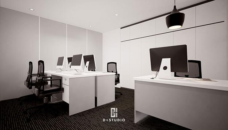 Văn phòng KMCC sử dụng hai màu sắc tương phản trắng đen đến từ các thiết bị nội thất và màu sơn.