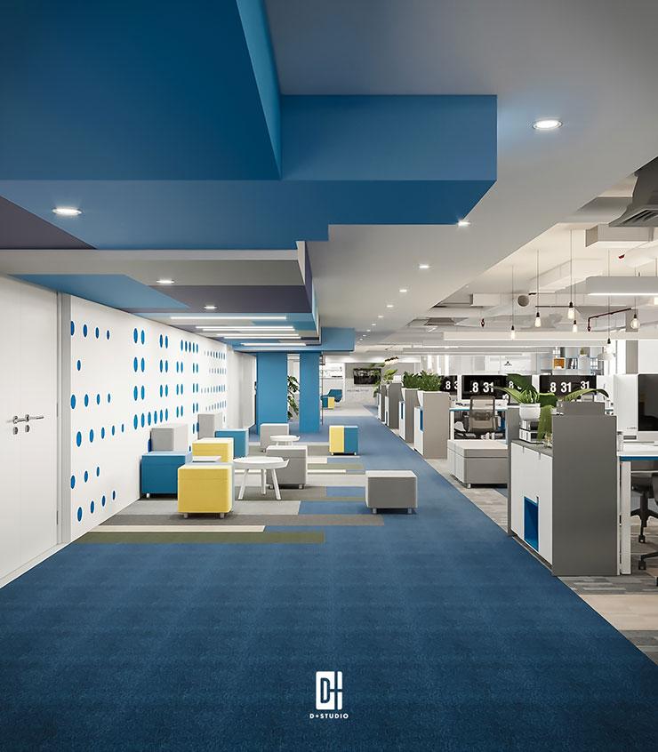 Tại văn phòng Yo-space, mỗi dãy bàn đều sử dụng tủ đựng hồ sơ để ngăn cách không gian bàn làm việc với lối đi và khu thảo luận của văn phòng.