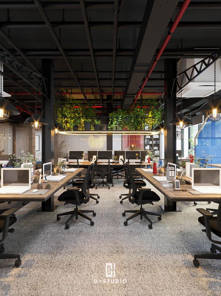 Dãy bàn dài được bố trí ngay tại các vị trí cột, hạn chế các góc chết, khiến không gian trở nên rộng rãi và tối ưu diện tích.