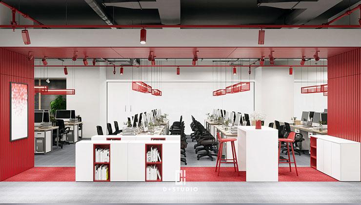 Các dãy bàn làm việc dài được bố trí gọn gàng và khoa học, thích hợp với những văn phòng có đông nhân viên.