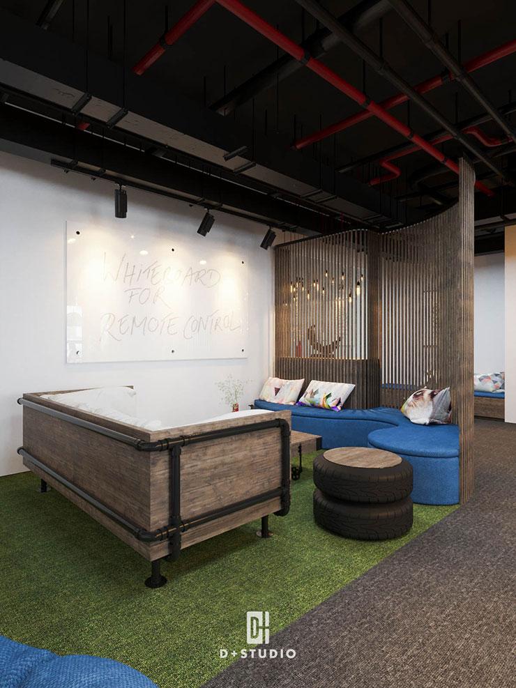 Vách nan gỗ với đường nét mềm mại, phân tách không gian nghỉ ngơi với không gian làm việc để đảm bảo tính riêng tư.
