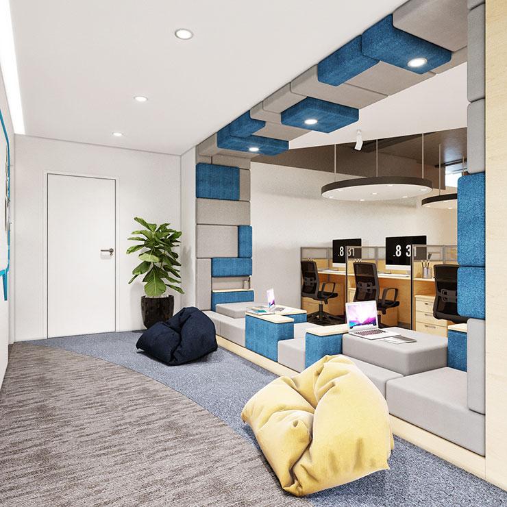 Văn phòng còn tận dụng được các khoảng không gian trống, bố trí chỗ ngồi làm việc một cách sáng tạo với vật liệu nỉ cao cấp, da.
