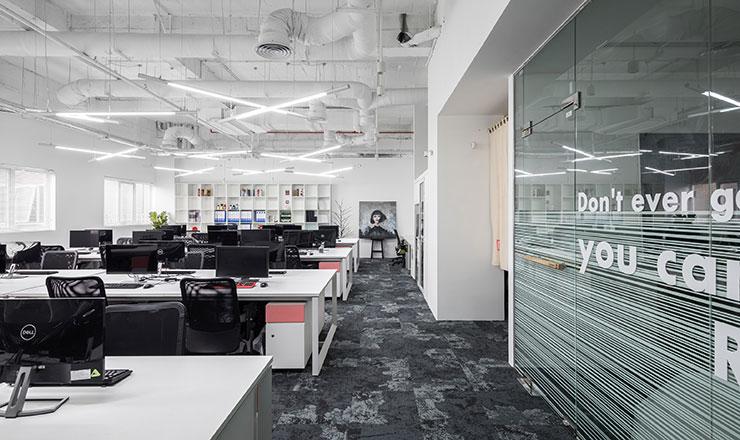 Không có sự cầu kỳ trong trang trí nhưng không gian văn phòng vẫn trở nên sống động và nâng cao tinh thần làm việc của nhân viên.