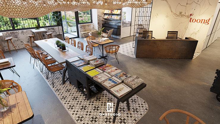 Văn phòng Toong Royal Square mang dấu ấn thời gian với việc sử dụng nền gạch họa tiết và các vật liệu như gỗ, tre trong văn phòng.