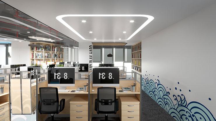 Văn phòng Tecomen sử dụng các loại bàn đơn ghép và ngắn cách bởi các tấm vách panel làm giảm bớt sự chật chội và bí bách.