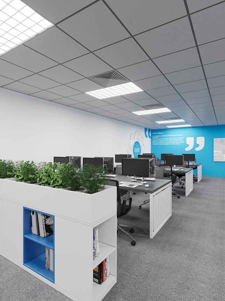 Tủ đựng tài liệu của văn phòng CMC Global T10 Samsung được sử dụng như một vách ngăn không gian, tích hợp nhiều công năng.