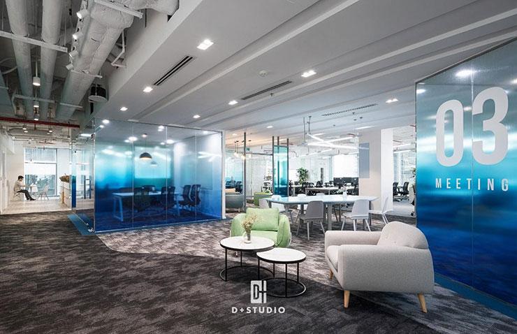 Các không gian chức năng trong văn phòng được phân chia hợp lý, có sự ngăn cách nhất định để đảm bảo sự riêng tư